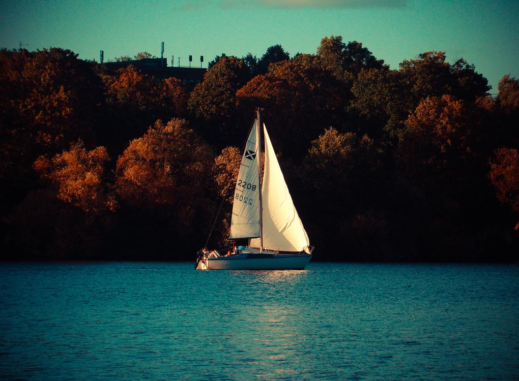 Evening,Reflection,Sailing