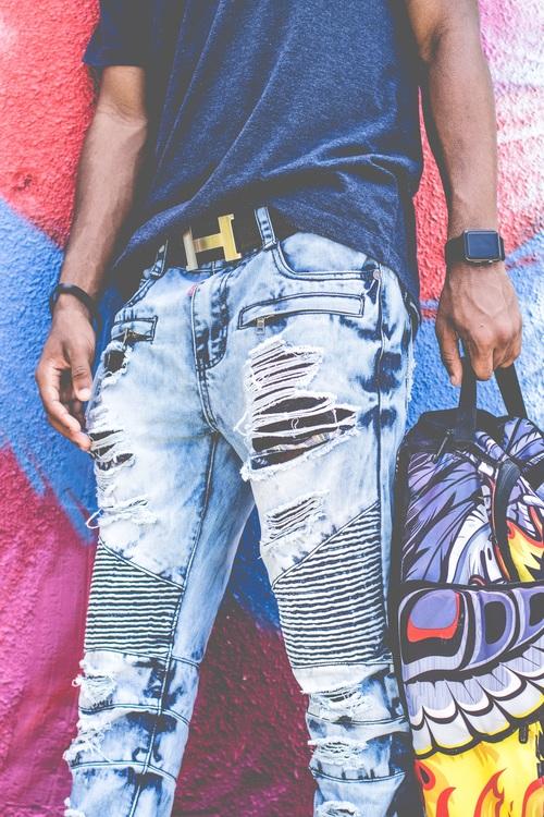 Blue,Material,Thigh