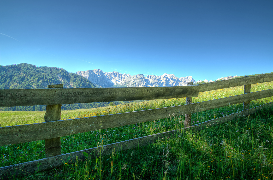 Meadow Fence Mount Scenery Background Royalty Free