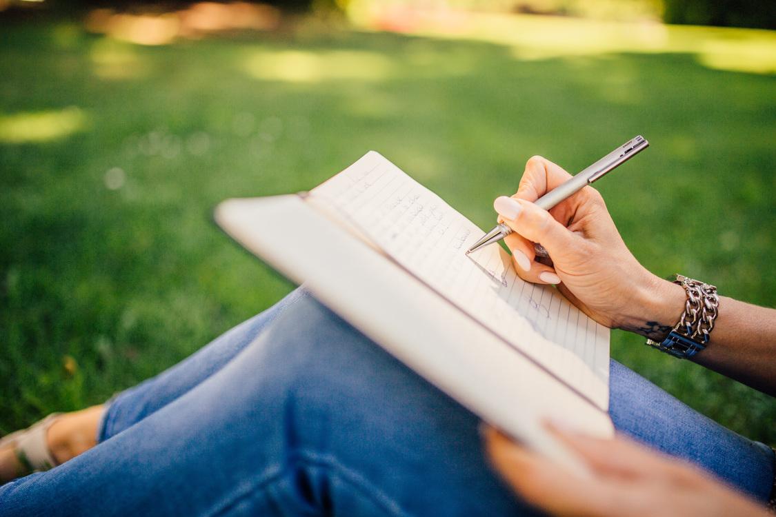 Writing,Girl,Grass