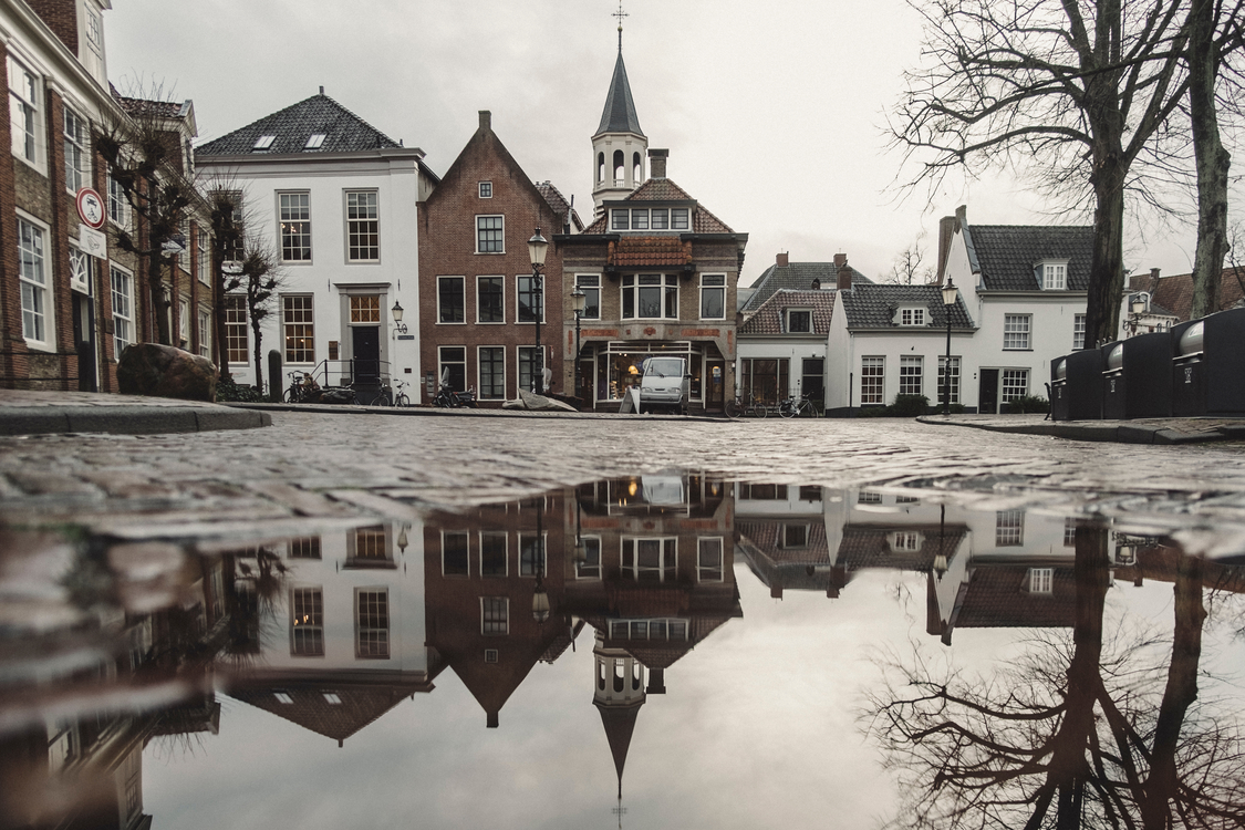 Town,Canal,Reflection