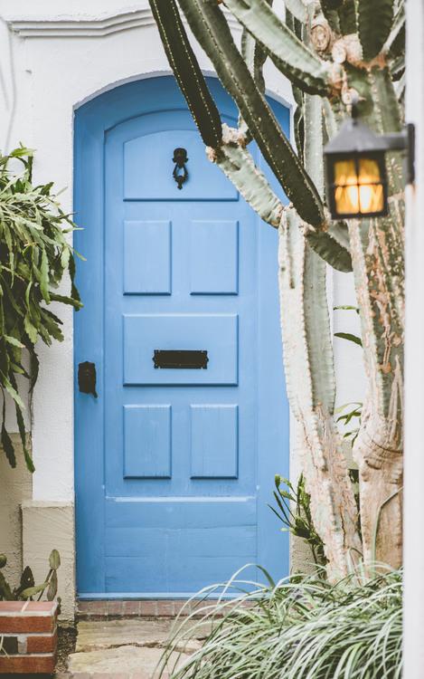Blue,Door,House