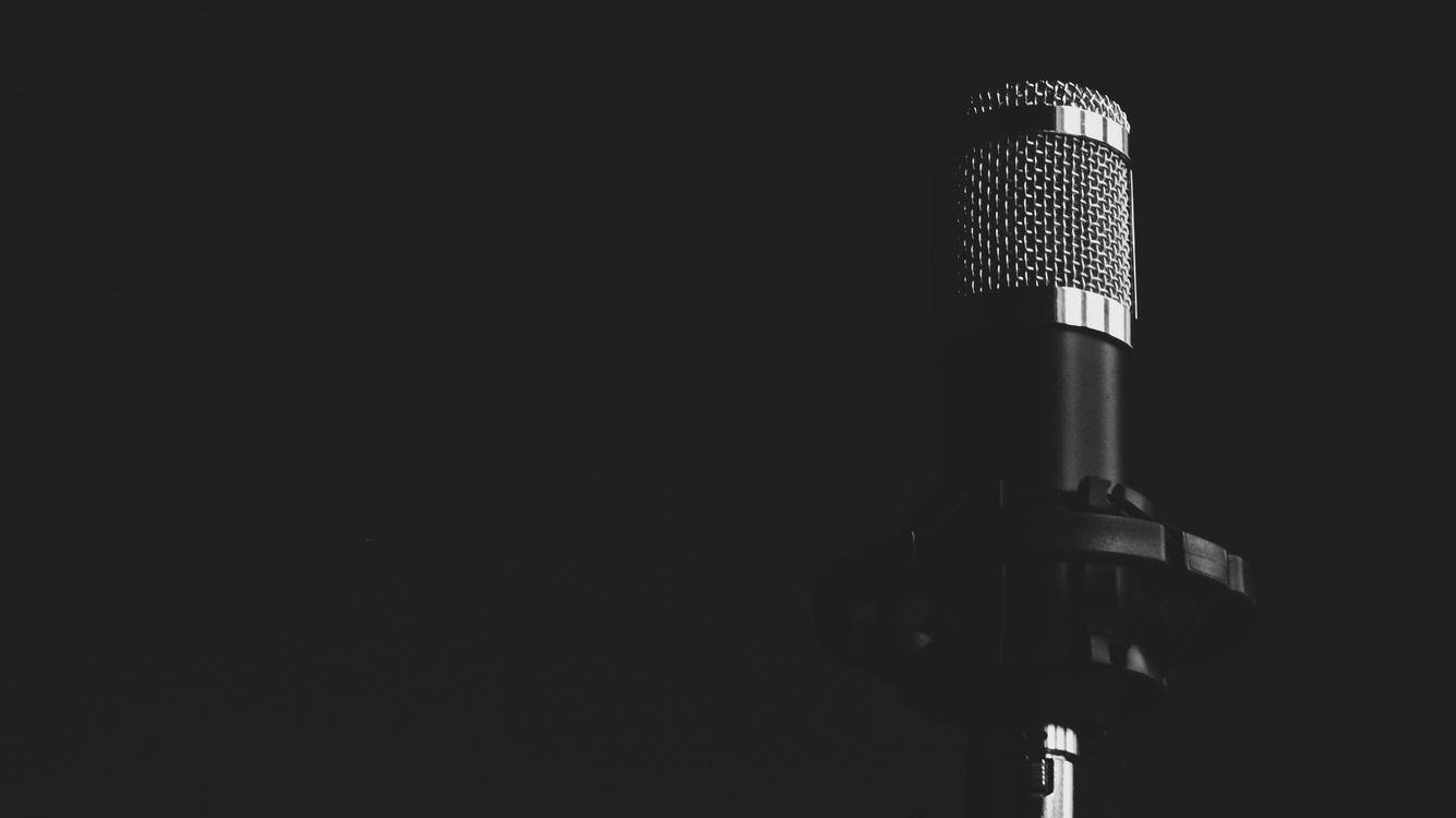 Microphone,Darkness,Monochrome Photography