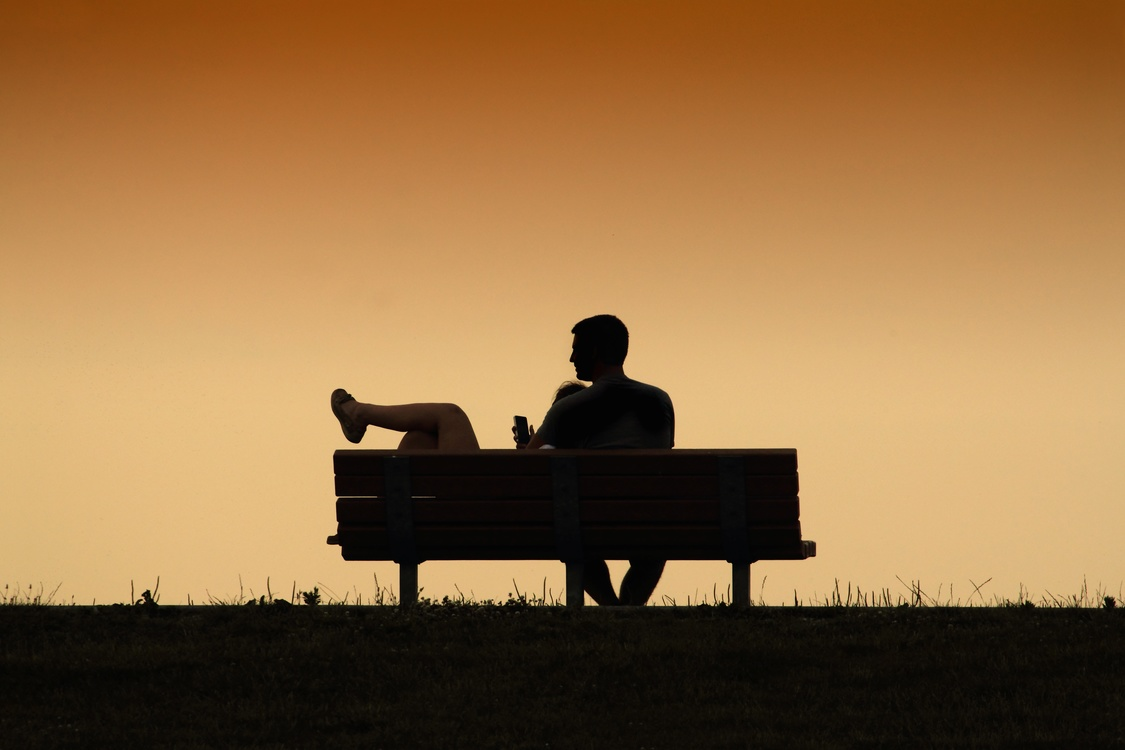 Evening,Silhouette,Sitting