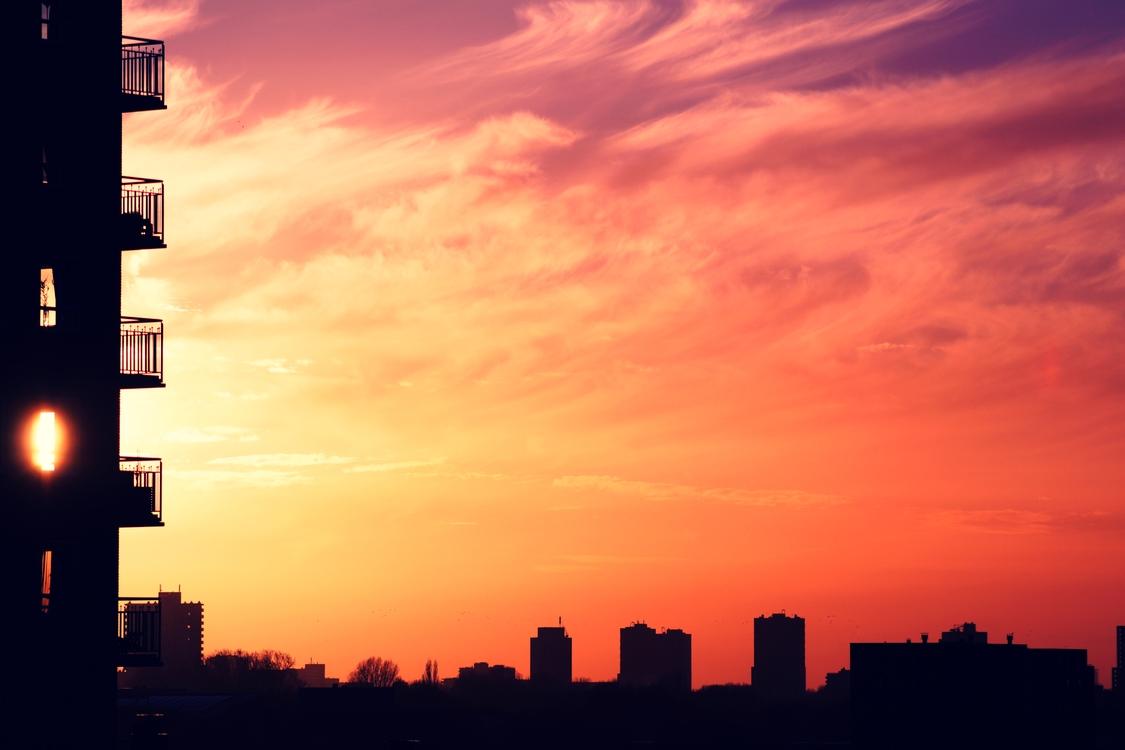 Atmosphere,Red Sky At Morning,Metropolitan Area