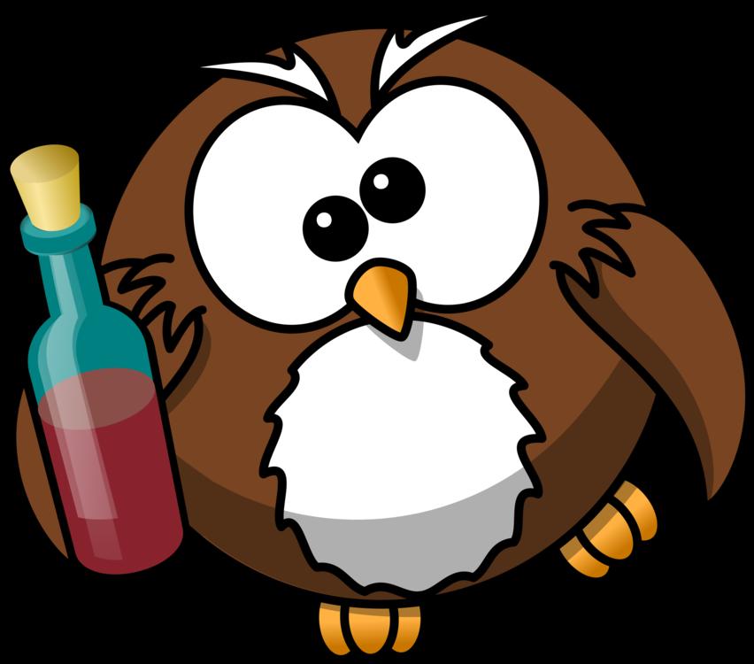 Owl Cartoon Drink Animation Alcohol intoxication