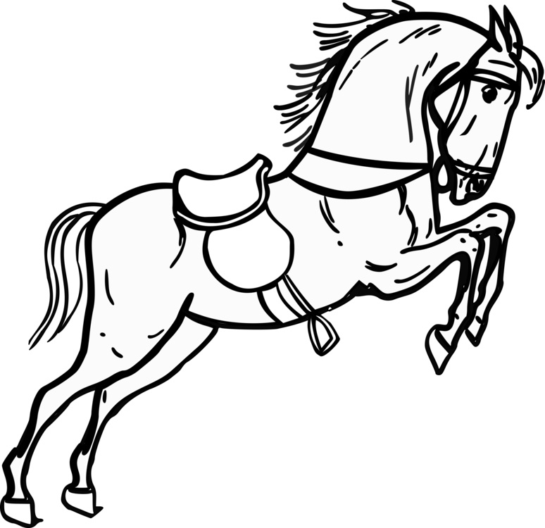 Horse Drawing Black And White Cartoon Line Art Free Commercial
