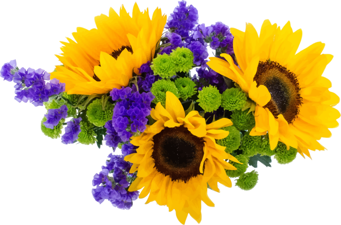 Common Sunflower Flower Bouquet Paper Yellow Free Commercial Clipart