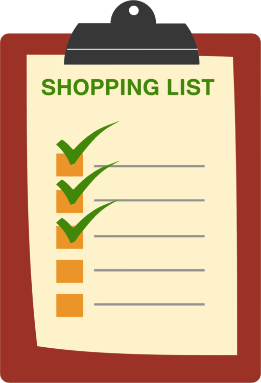 shopping list grocery store shopping cart paper