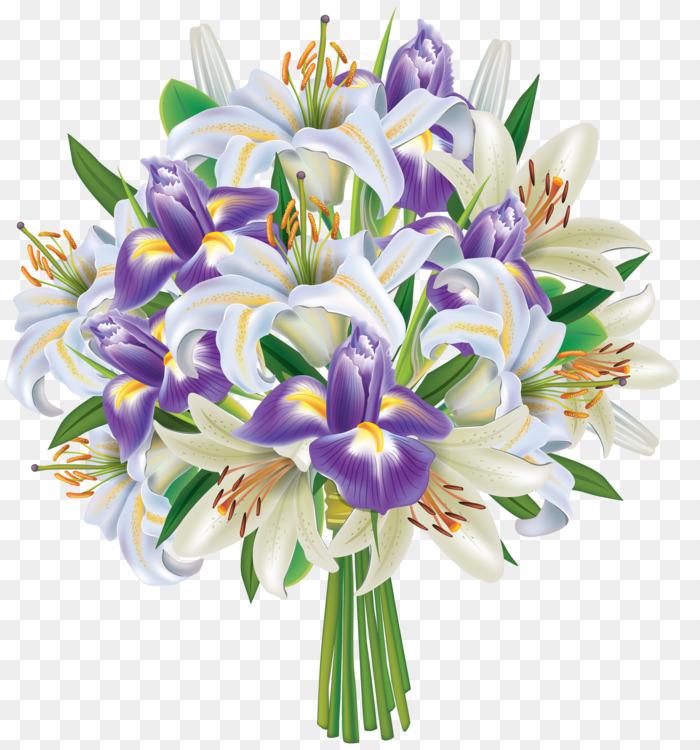 Flower bouquet Cut flowers Irises Purple Free PNG Image - Flower ...