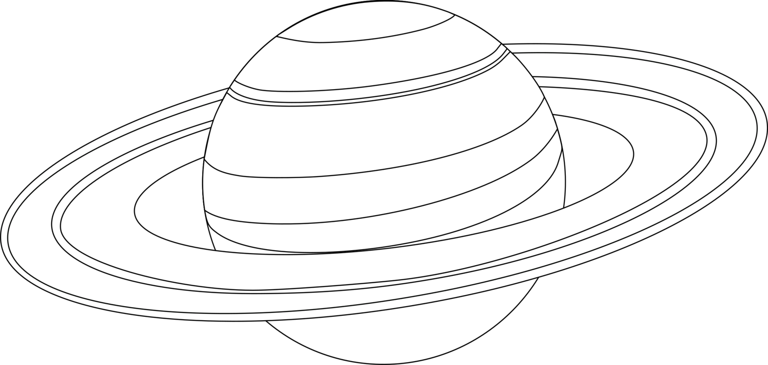 Black and white Line art Saturn Planet Coloring book free commercial ...