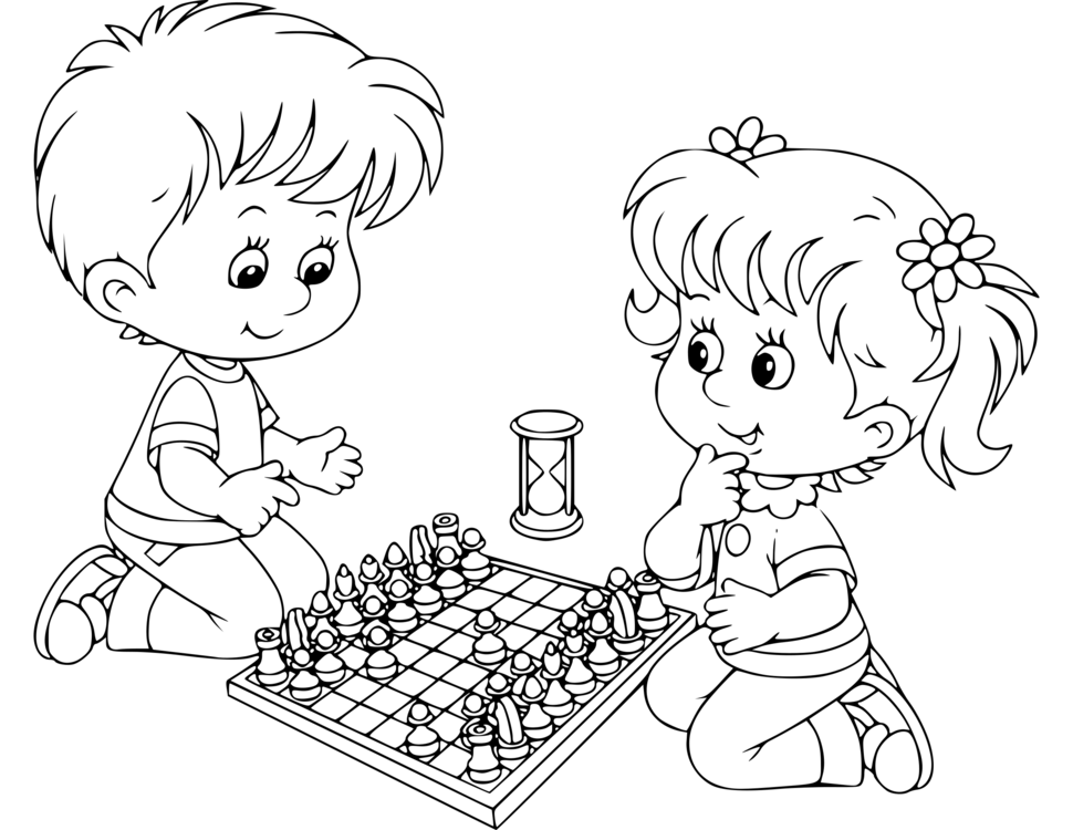 Black And White Chess Coloring Book Child Drawing Free Commercial