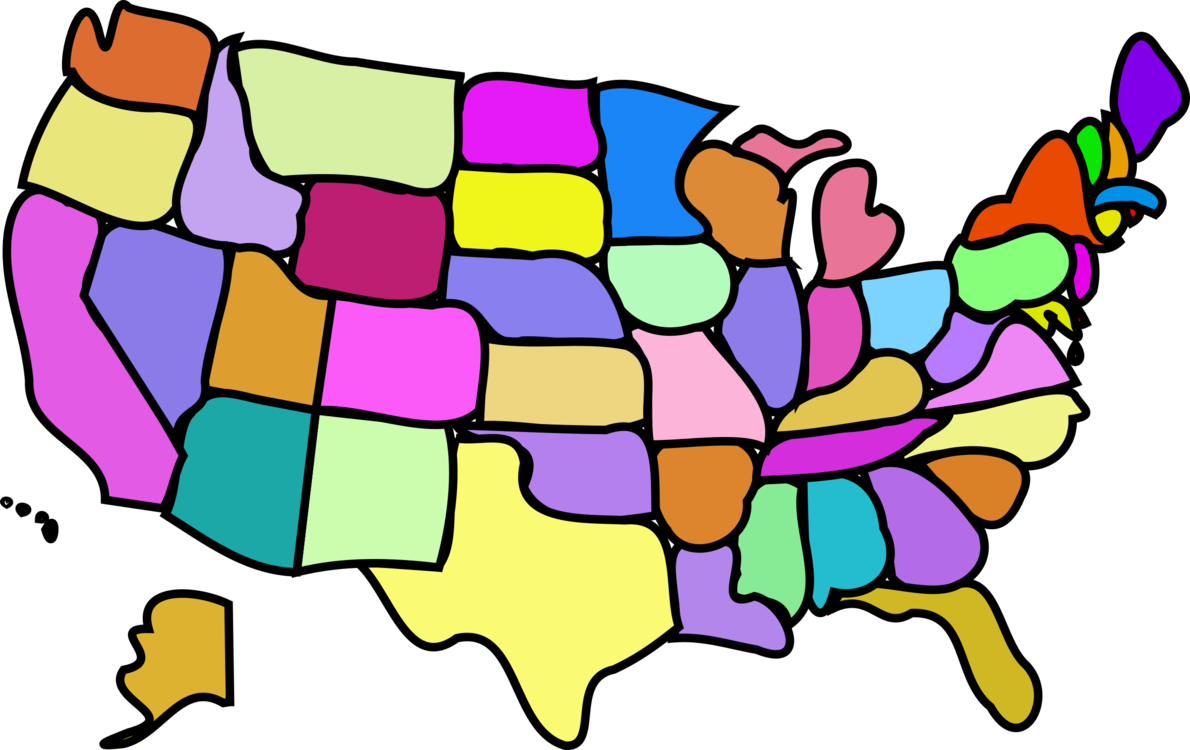 United States Blank Map Cartoon U S State Free Commercial Clipart