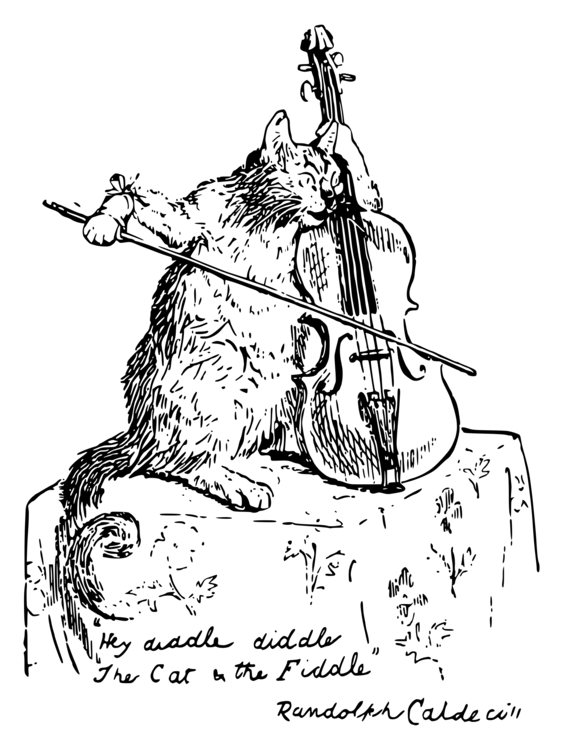 cat fiddle violin drawing bow free commercial clipart cat fiddle
