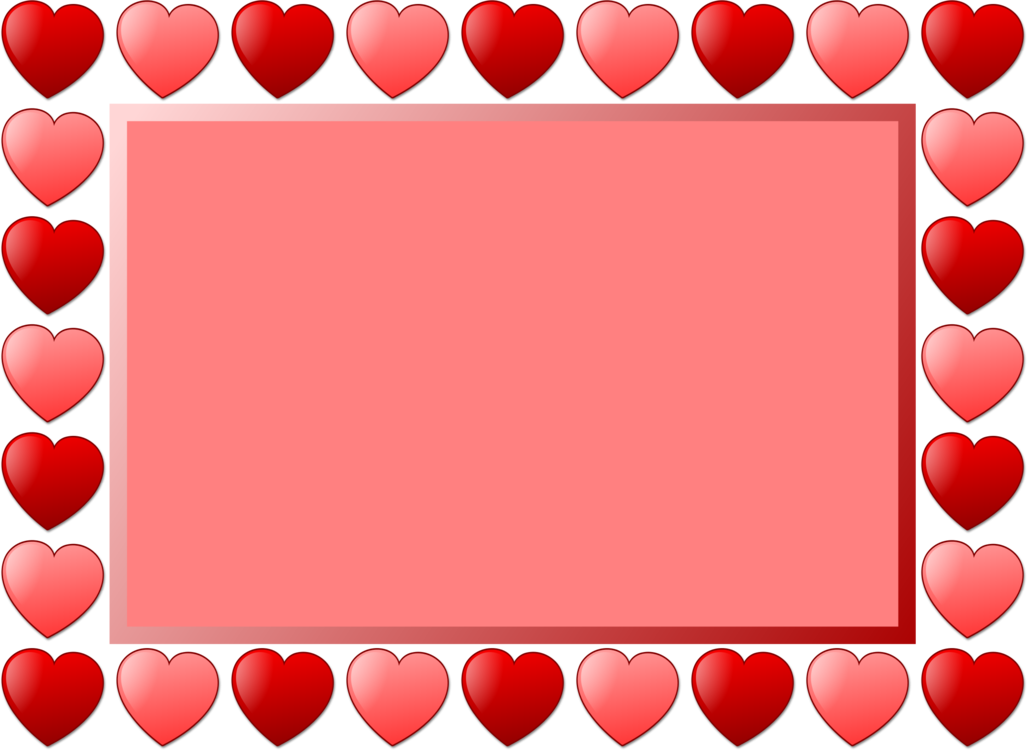 Heart Picture Frames Line Art Drawing Valentines Day Free
