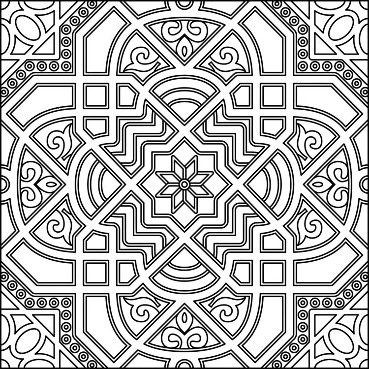 Islamic Geometric Patterns Islamic Art Coloring Book Black And White
