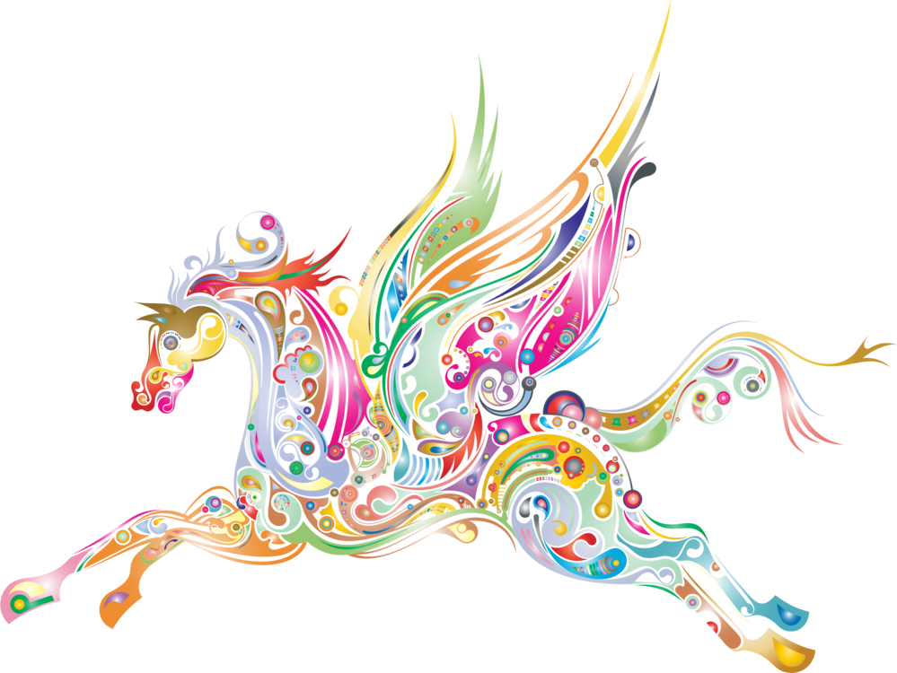 Flying Horses Pegasus Drawing Computer Graphics Free Commercial