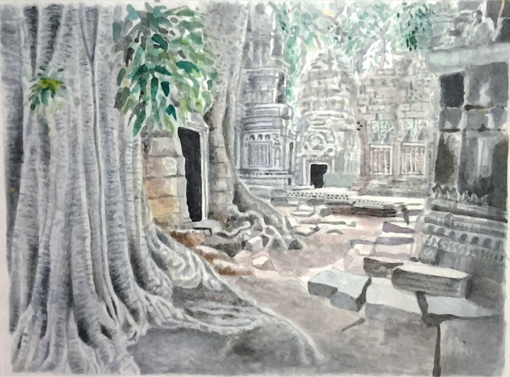 Archaeological Site,Watercolor Paint,Historic Site