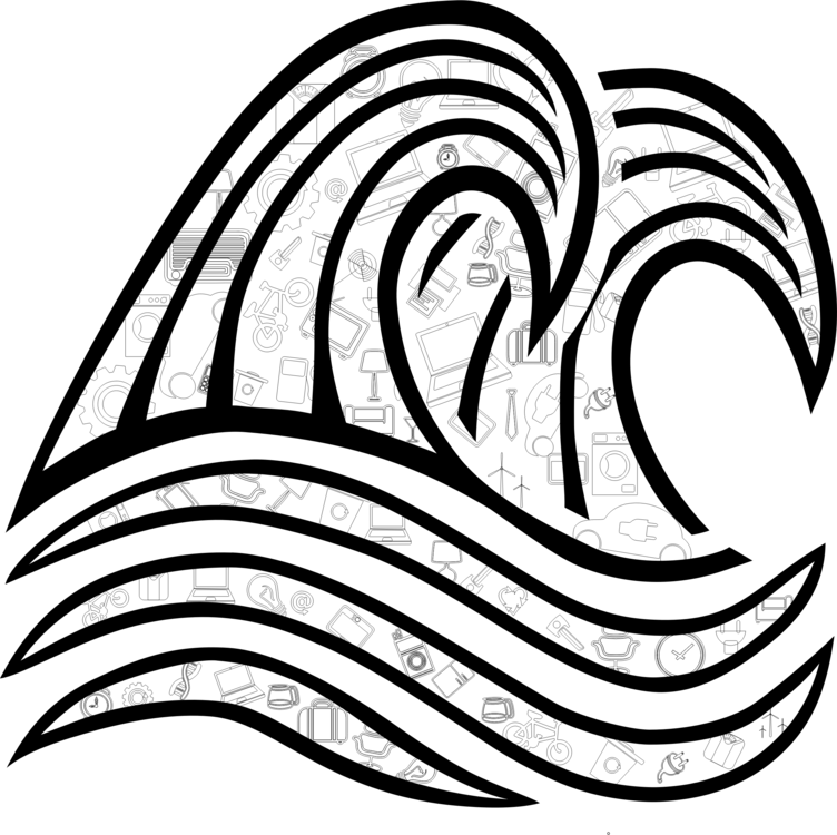 Black And White Wind Wave Drawing Wave Vector Free Commercial