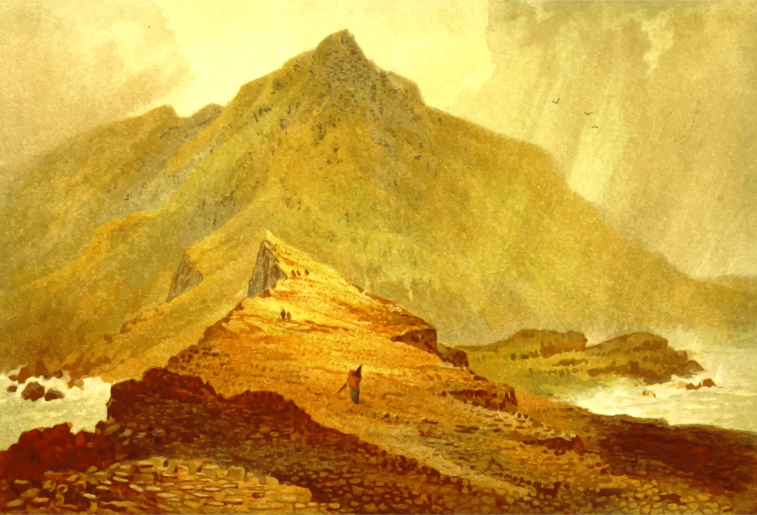 Archaeological Site,Mountain,Watercolor Paint