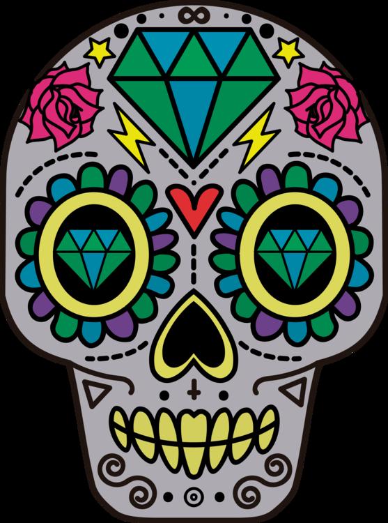 Calavera Skull Day of the Dead Sticker Mexican cuisine