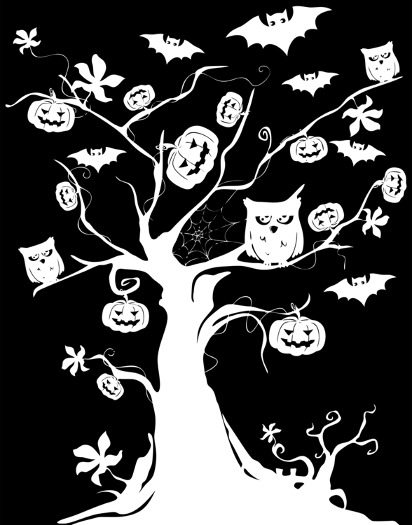 the halloween tree jack o lantern drawing silhouette