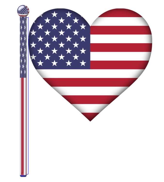Flag Of The United States,Heart,Line