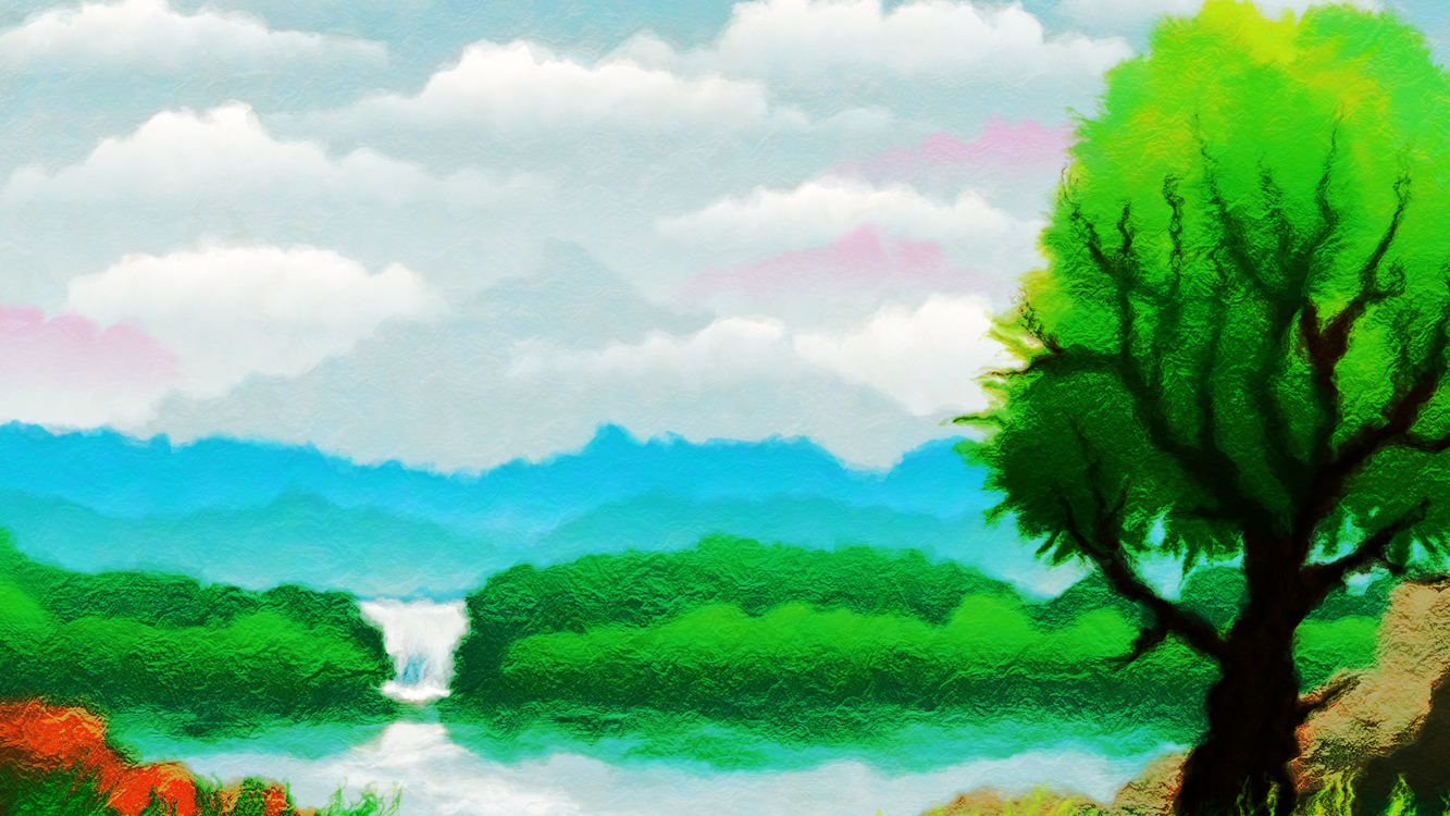 Hill,Sky,Paint