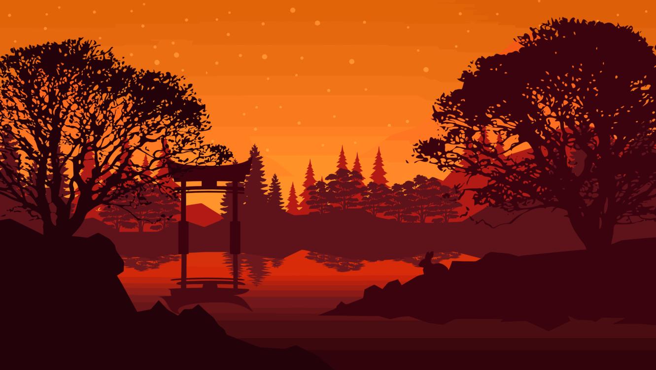 Silhouette,Sky,Lake