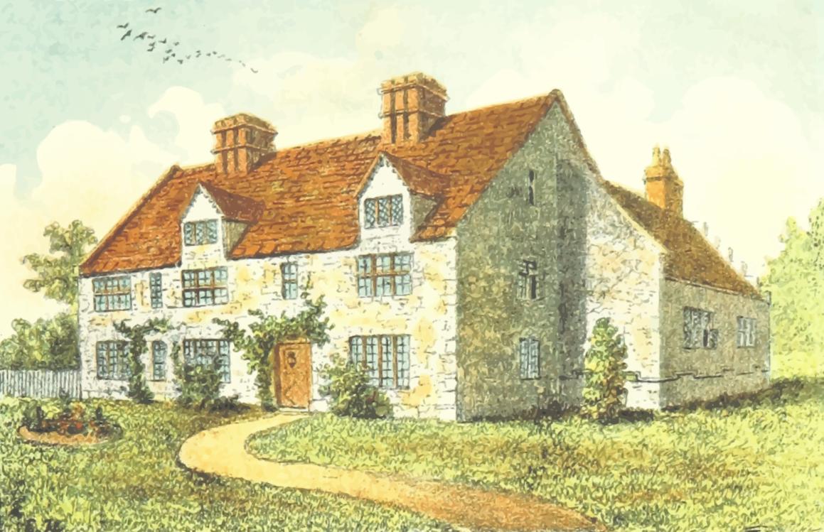 Building,Farmhouse,Watercolor Paint