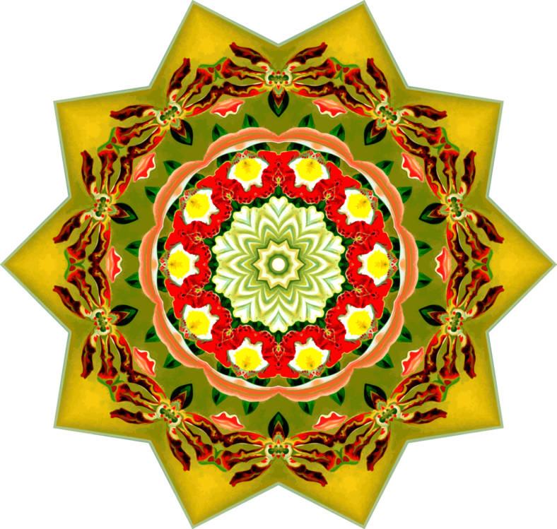 Ornament,Yellow,Kaleidoscope