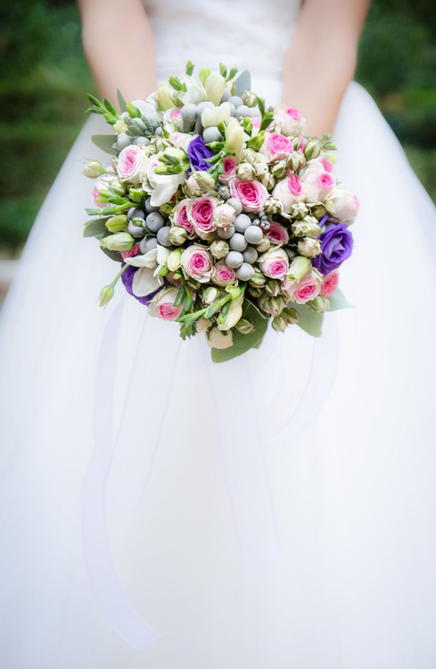 Pink,Flower,Wedding Dress