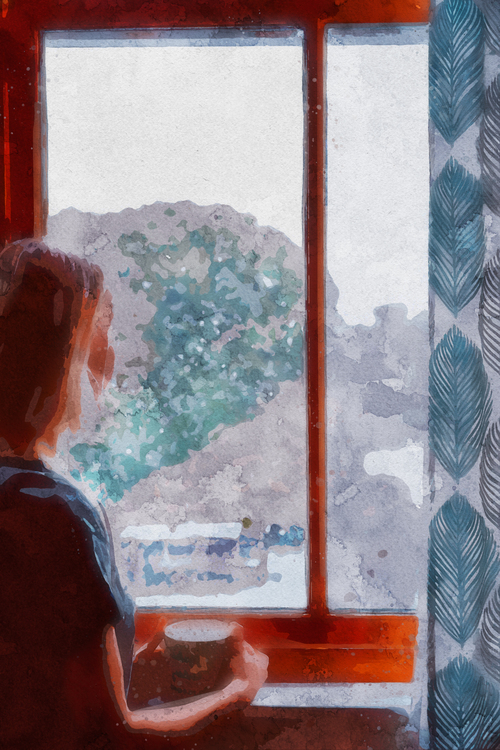 Painting,Watercolor Paint,Window