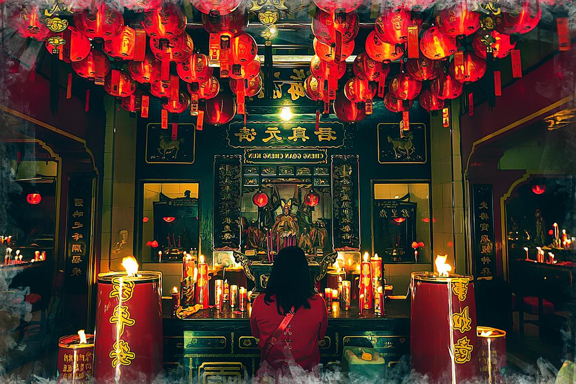 Lighting,Shrine,Chinese New Year